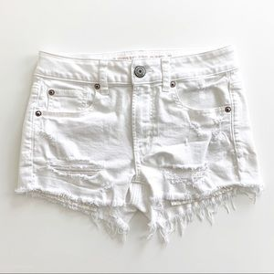 AE Hi Rise Shortie Embroidered Jean Short White 2